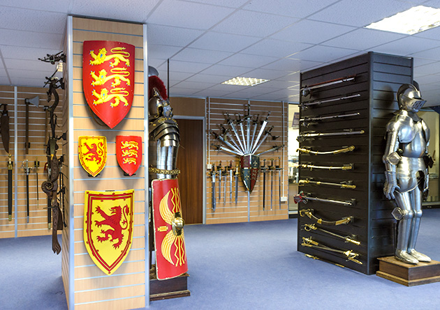 The Knight Shop Showroom - medieval shield display
