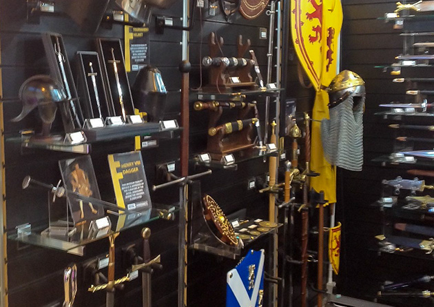 The Knight Shop Trade at  the NEC Spring Fair - medieval helmets and daggers display